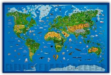 Wissenschaftliche Geschenkideen Pinnwand Kinder-Weltkarte