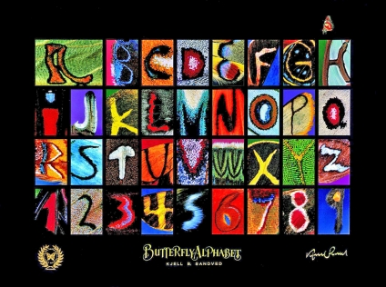 Schmetterlings-Alphabet-Poster.