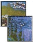 Claude Monet: Seerosen I und II. 2 Fine Art Giclée-Drucke auf Künstlerleinwand.